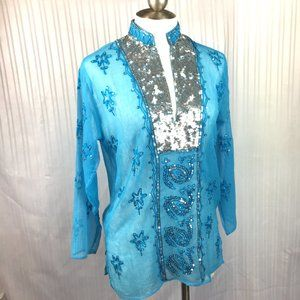 Boho Long Sleeve Embroidered Sequin India Top